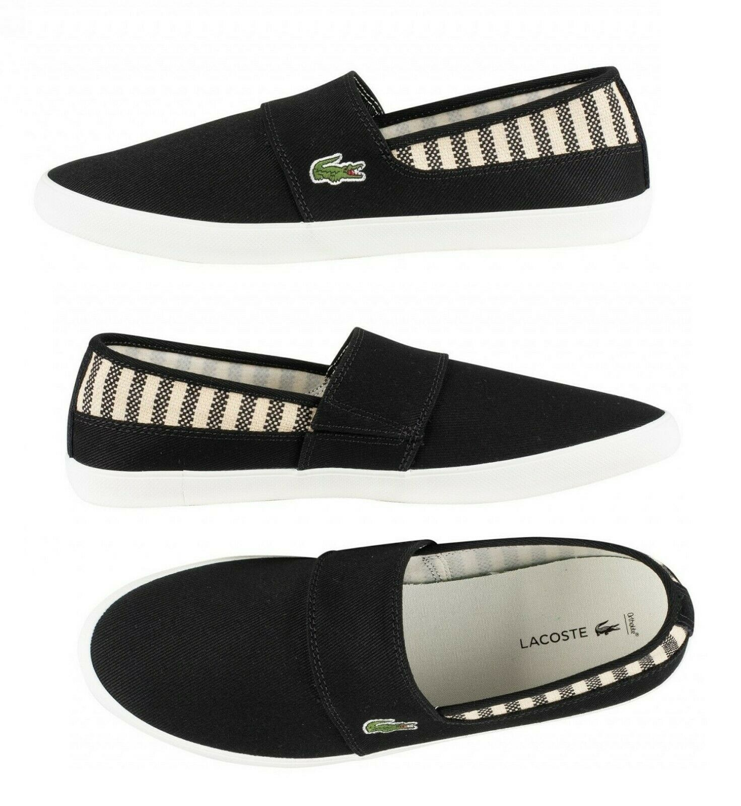 Lacoste Marice 219  Men's Croc Logo Casual Slip On Loafer shoes Sneakers Black