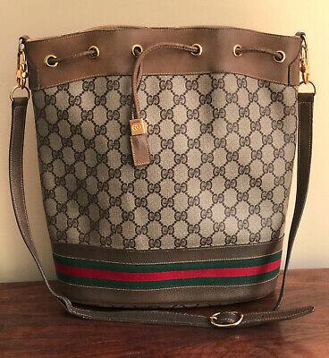 Vintage GUCCI Ophida Bucket Bag // GG Monogram Shoulder Drawstring COA