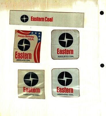5 DIFF. NICE OLD RARE MID 70'S LOGO'S EASTERN COAL CO. COAL MINING STICKERS# 799