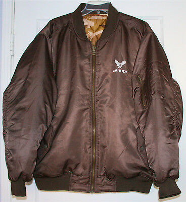 Used, Avirex MA-1 Size L Brown / Camo reversible Fight Bomber Jacket Excellent Rare for sale  Pacoima