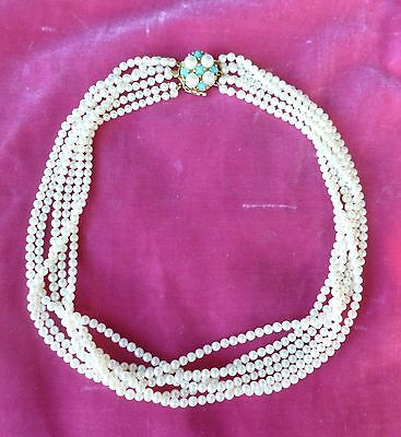 VINTAGE BEST QUALITY 6 STRAND PEARL NECKLACE WITH HALLMARKED 14 K GOLD