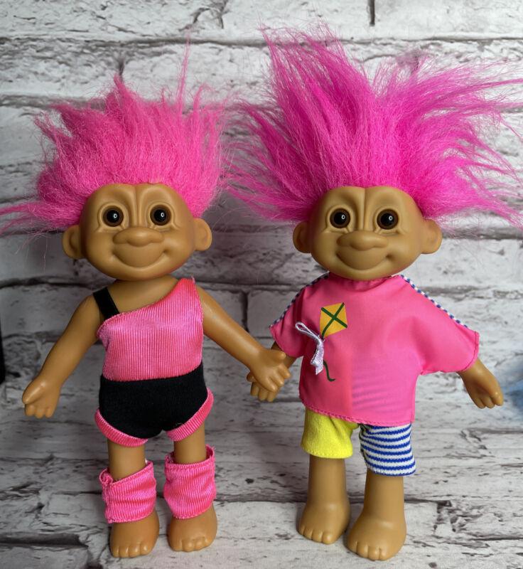 """Vintage Russ Troll Lot Of 2 Pink Hair 7"""""""
