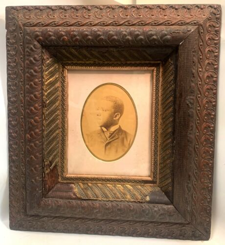 Antique 1800's Black African American Photo Young Man Portrait in Nice Frame