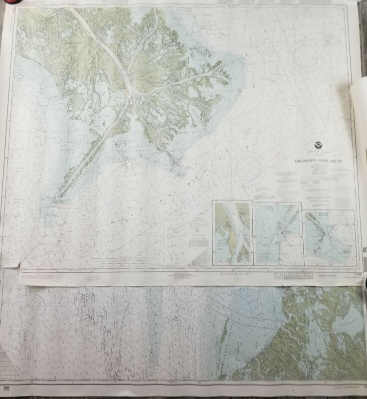 2 Vintage Nautical Charts Maps NOAA Louisiana Miss. River Delta And Point Au Fer