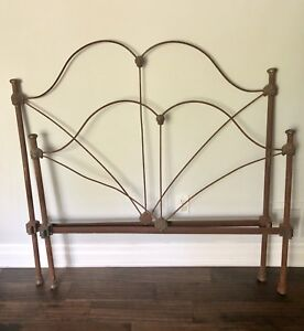 Antique Vintage Iron Bed Headboard & Footboard (No rails)