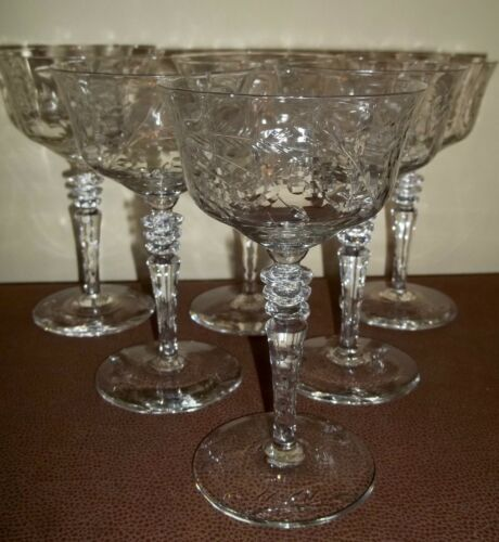 SIX Libbey ROCK SHARPE Cut Crystal CHAMPAGNE / TALL SHERBET Glasses 6""