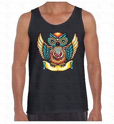 Sugar Skull Owl Men's Tank top Day Of Dead Colorful Halloween Mexican TankTOP - Man Sugar Skull Halloween