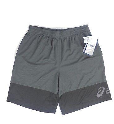"Men's Asics athletic shorts gray black sz M new! MS0842CW  9"" inseam"