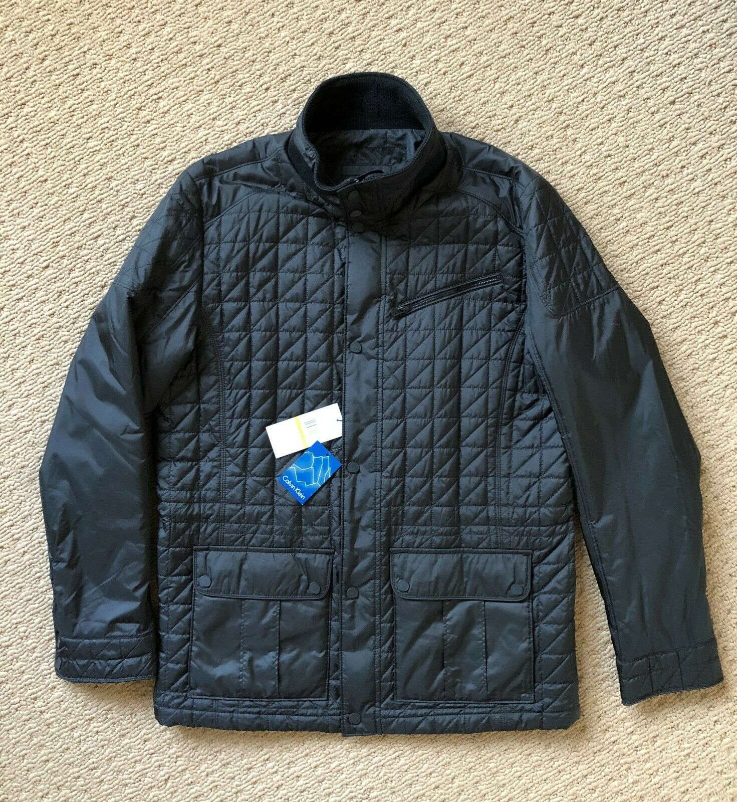 Calvin Klein Men's Quilted Light Weight Bomber Parka Jacket,