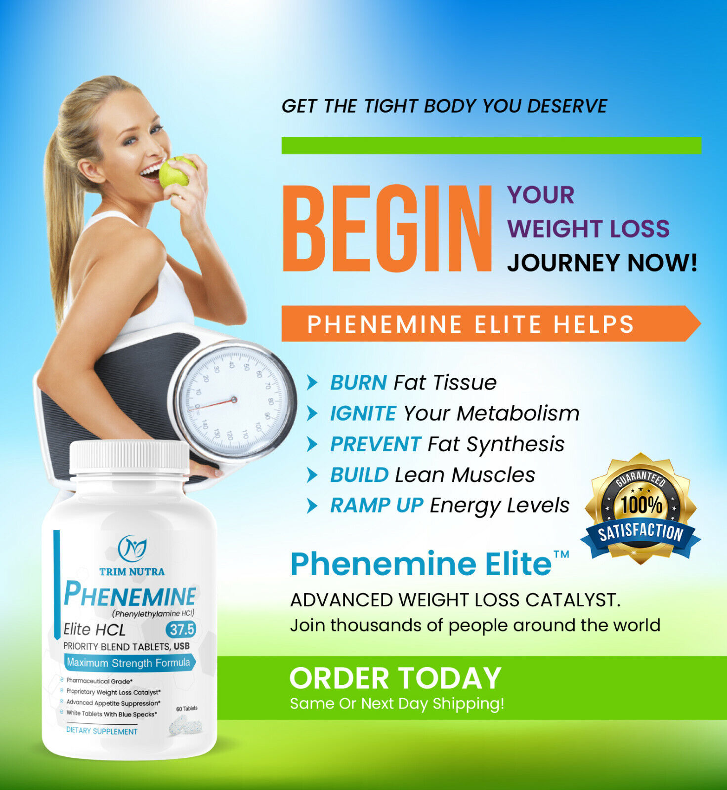 1 Phenemine Elite 37.5 White/Blue Burn Fat Burners Adipex P  Diet Pills 1