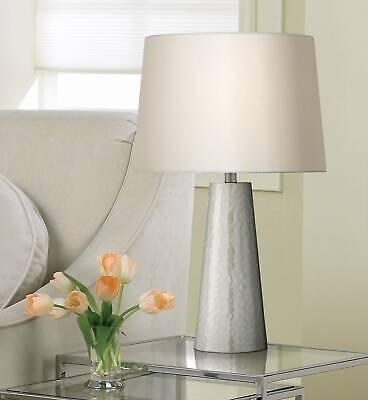 Modern Table Lamp Silver Leaf Hammered Metal Cylinder for Living Room Bedroom Silver Leaf Table Lamp