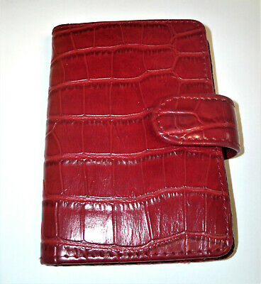 Red Crocodile Embossed Faux Leather Mini Binder Planner 3 12 By 5 Inches Cute