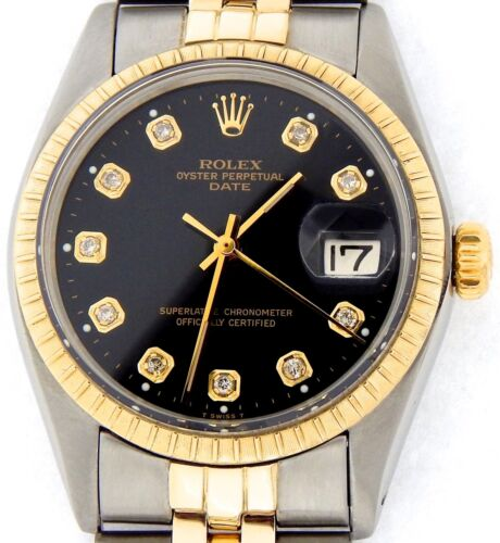 $3300.00 - Mens Rolex Date 14K Yellow Gold Stainless Steel Watch Jubilee Black Diamond 1505