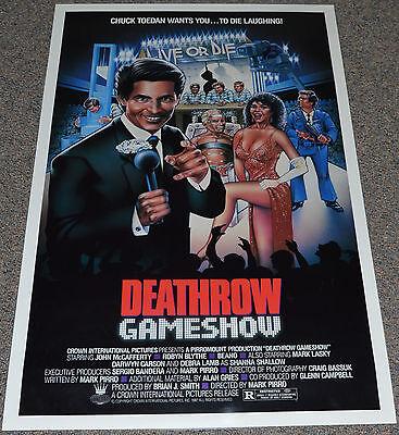 DEATHROW GAMESHOW 1987 ORIGINAL MOVIE POSTER! DEBRA LAMB PRISON EXPLOITATION!