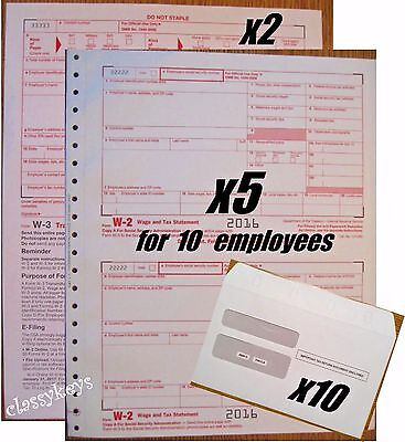 2016 Irs Tax Forms Kit   W 2 Wages Carbonless For 10 Employees   Envelopes   W 3
