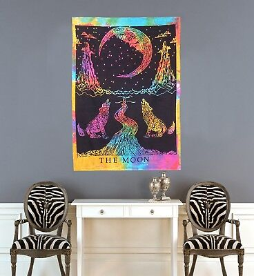 Indian Multi Color Wall Poster The Wolf & The Moon Hippie Wall Decor Tapestry