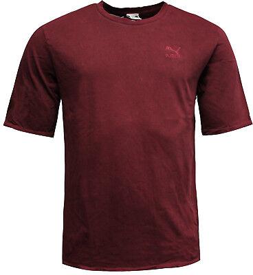 Puma Mens Distressed Oversized T-Shirt Tee Top Burgundy 575307 01 A10B