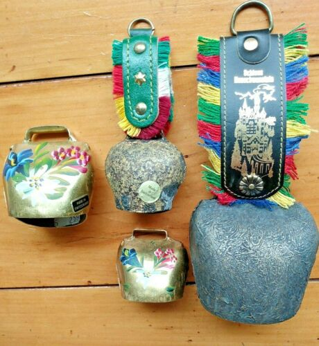 4 VINTAGE COW BELLS SWISS / BAVARIAN STYLES BRASS HAND PAINTED
