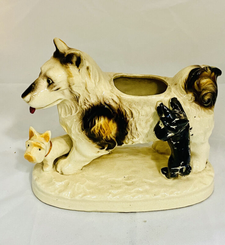 Momma Dog Planter with Two Baby Puppies Ceramic Vintage
