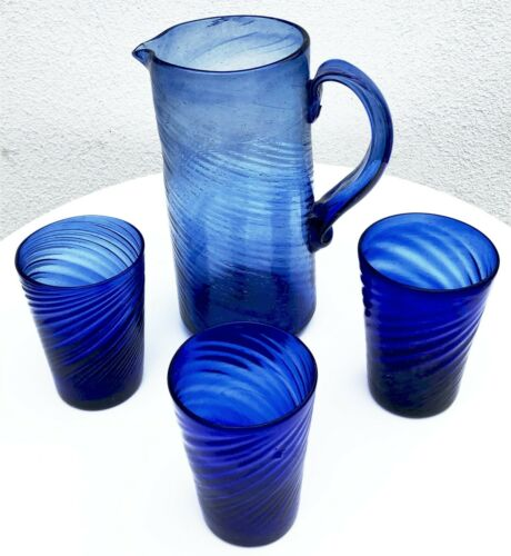 AVALOS GLASSWORKS COBALT BLUE TORNILLO PULQUE PITCHER VASO CUP GLASS FOLK ART