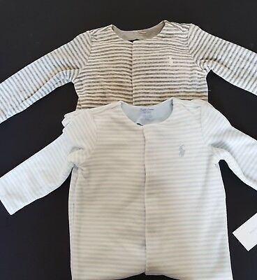 Ralph Lauren BabyBoys Striped Velour Babygrow Coverall Footed Romper New Arrival ()