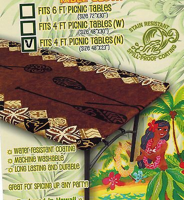 Hawaiian Fitted Tablecloth 4 x 2 feet picnic table Luau party  cover ( 6 - Picnic Table Decorations