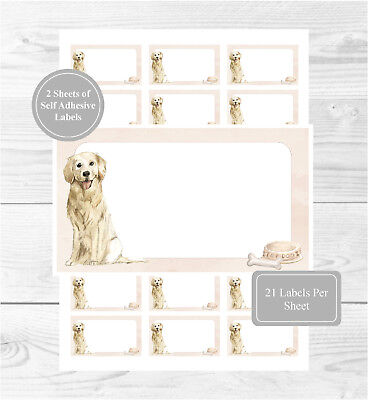 Golden Retriever 42 Self Adhesive Stickers, Blank For Address Labels/Gift Tags