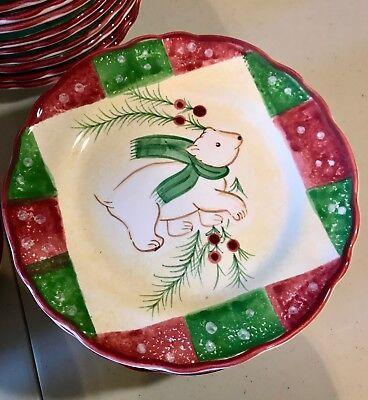 Log Cabin by The Cellar Polar Bear Dessert Plates Christmas Collection ()