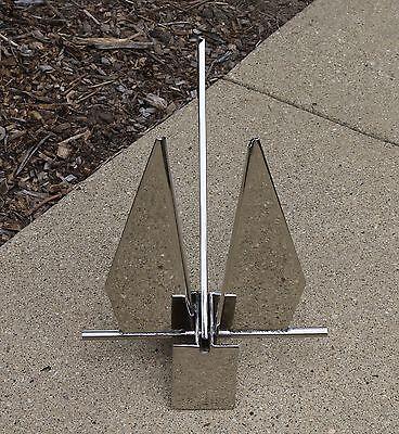 44 lb 20 kg 316 Stainless Steel Mirror Polish Danforth Style Fluke Boat Anchor