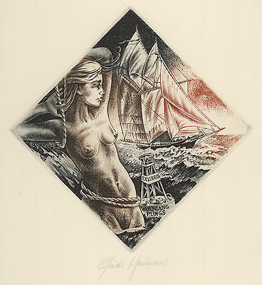 G. MARIMAN Segelschiff Exlibris Sail Boat Erotic Siren sign c2 Copper engraving