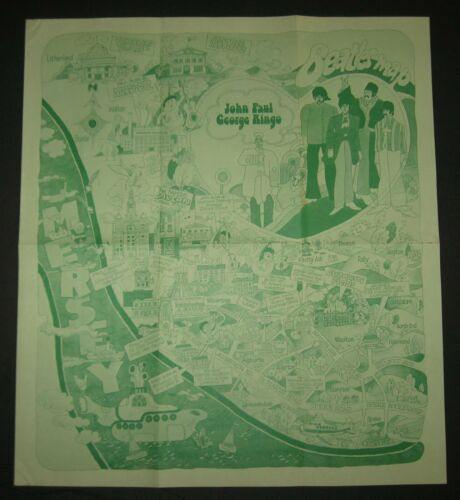"""Rare 1974 THE BEATLES Liverpool, England Green Pictorial Tourism Map 16"""" x 18"""""""