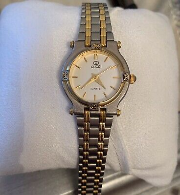 Vintage Gucci Ladies Two Tone Gold Stainless Steel Bracelet Dress Watch