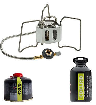 Edelrid Hexon Multifuel Kocher für Gas und Benzin + Edelrid Gaskartusche 230g