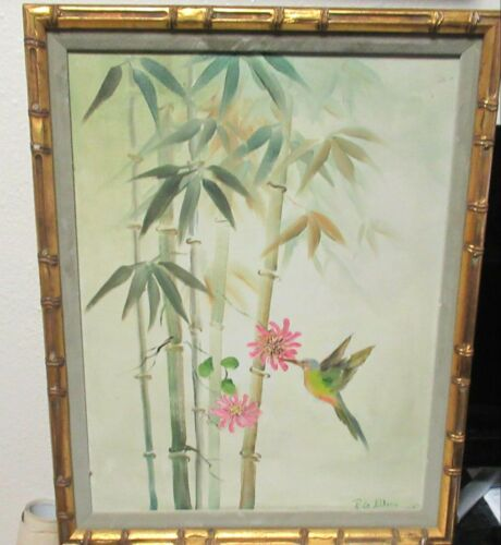 JAPANESE HUMMINGBIRD AND BAMBOO BLOSSOMS ORIGINAL OIL ON CANVAS PAINTING SIGNED