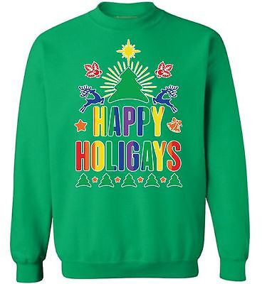 Gay Christmas Sweaters (Happy Holigays Sweatshirt Ugly Christmas Sweatshirts Gay Christmas Sweater)