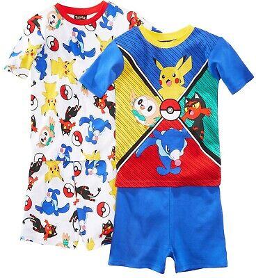 Pokemon Little/Big Boys Character Print Four-Piece Snug Fit Pajama Short - Pokemon Boy Characters