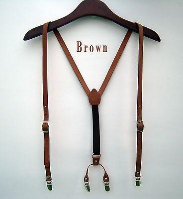 Mens Leather Suspenders Y-Back Retro Braces Clip-On belt new Brown