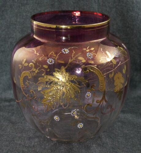 "Moser Style Hand Painted ENAMEL and GILT VASE - Mauve to Clear - LARGE 8"" dia."