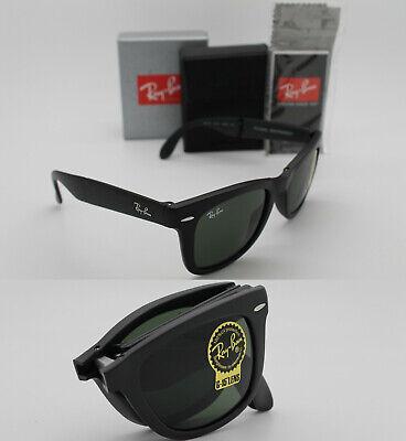 Authentic New Ray-Ban Folding Wayfarer Matte Black / Green  RB 4105 601S (Wayfarer Matte)