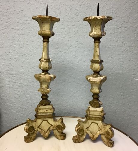 ESTATE Pair Of 19th Century Italian Carved Wood Pricket Candlesticks