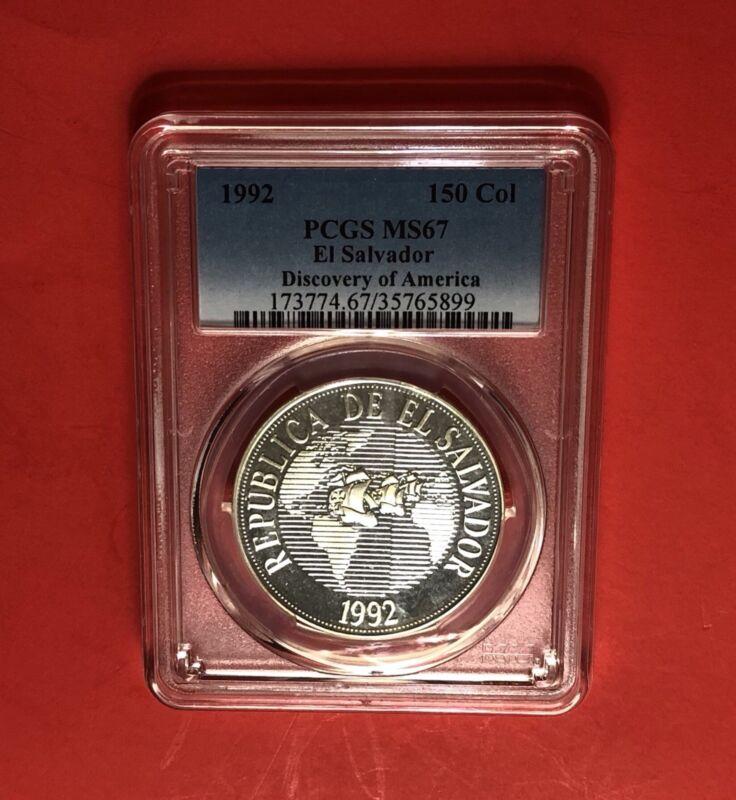 EL SALVADOR-1992 UNC 150 COLONES (DISCOVERY OF AMERICA) PCGS MS67..RARE