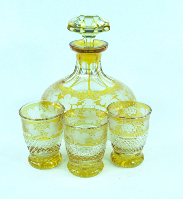 Antique Bohemian Cut Glass Decanter  Shot Glasses Set
