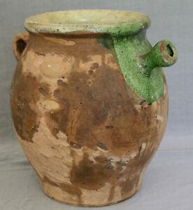 ancienne grande cruche a eau provencale en poterie terre cuite vernissee ebay. Black Bedroom Furniture Sets. Home Design Ideas