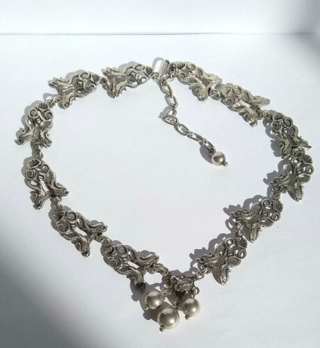 Vintage Guglielmo Cini Sterling Silver Ornate Baroque Dolphins Shells Necklace