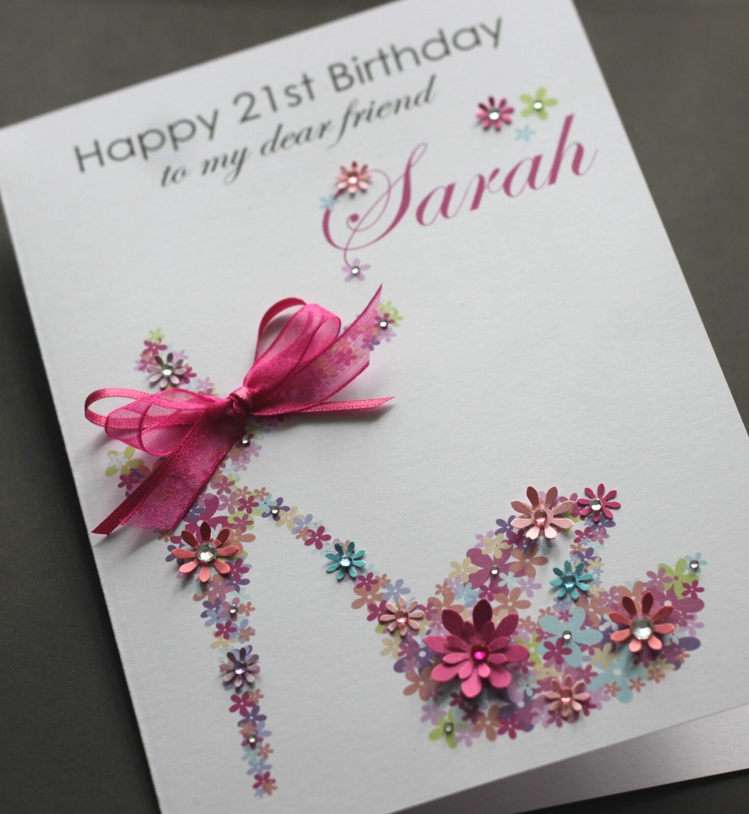 LARGE A5 Handmade Personalised FLORAL SHOE Birthday Card ...
