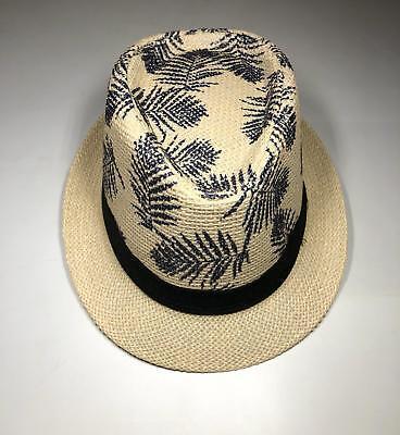 Cuban Hat (Straw Fedora Hat Beige Cuban Blue Summer Beach Sun Panama Short Brim Men Women)
