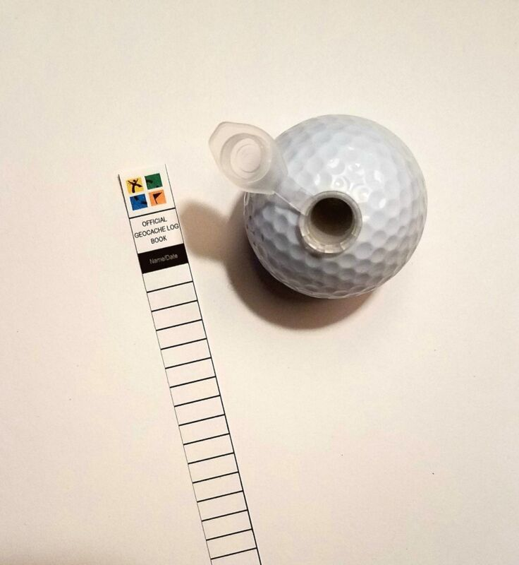 Golf Ball Cache Container for Geocaching comes with a Log Book Free Shipping
