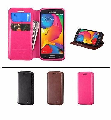 Leather Wallet Flip Folio Pouch Hard Case Cover For Samsung GALAXY AVANT G386T - Hard Case Cover Pouch