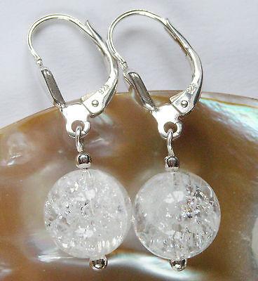 BERGKRISTALL 10 mm. Ohrringe Ohrhänger Brisur Silber 925 Hochzeit Brautschmuck
