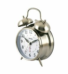 Quartz Analog Twin Bell Alarm Clock (Silver)